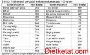 jumlah energi per 100 gram
